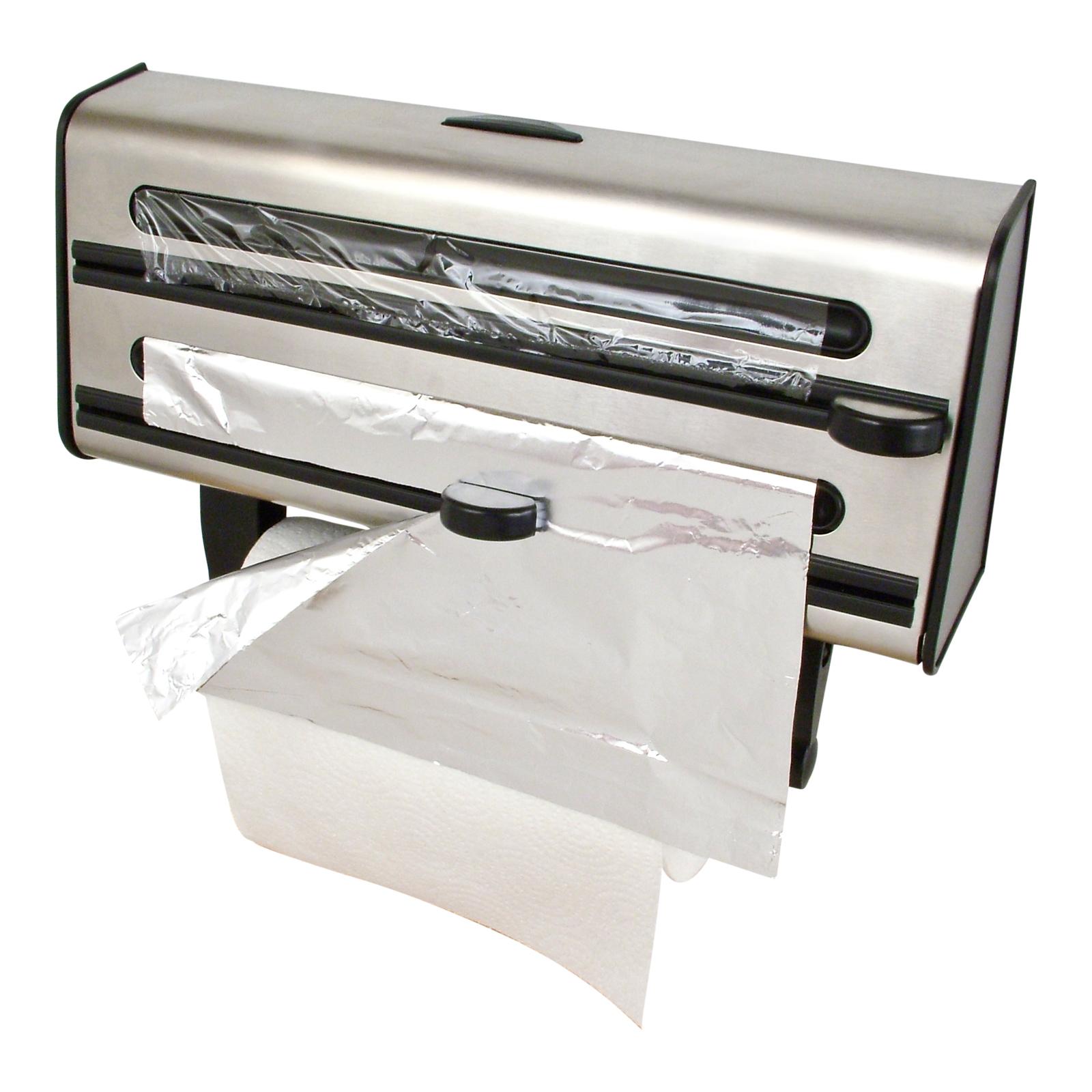 Awesome Kitchen Triple Roll Dispenser Cling Film Tin Foil Towel Holder