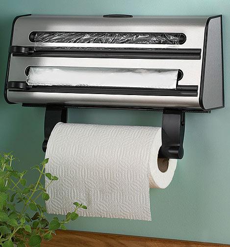 Triple Kitchen Towel / Roll Cling Film Tin Foil Dispenser