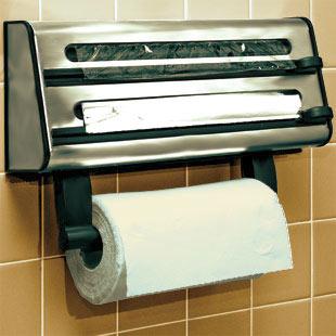 Triple Kitchen Towel Roll Cling Film Tin Foil Dispenser Holder Rack Wall  Mount