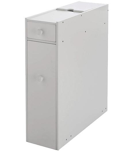 Slimline bathroom storage cupboard cabinet unit rack white for Slimline bathroom cupboard