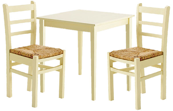 Rush Kitchen Dining Table & 2 Chairs Wood Wooden PINE Cream Buttermilk
