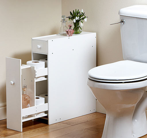Compact bathroom storage cupboard cabinet unit rack white for Loo roll storage