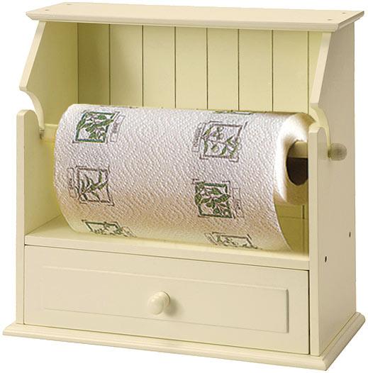 Free Standing KITCHEN ROLL HOLDER Drawer Cream Buttermilk Wood Effect