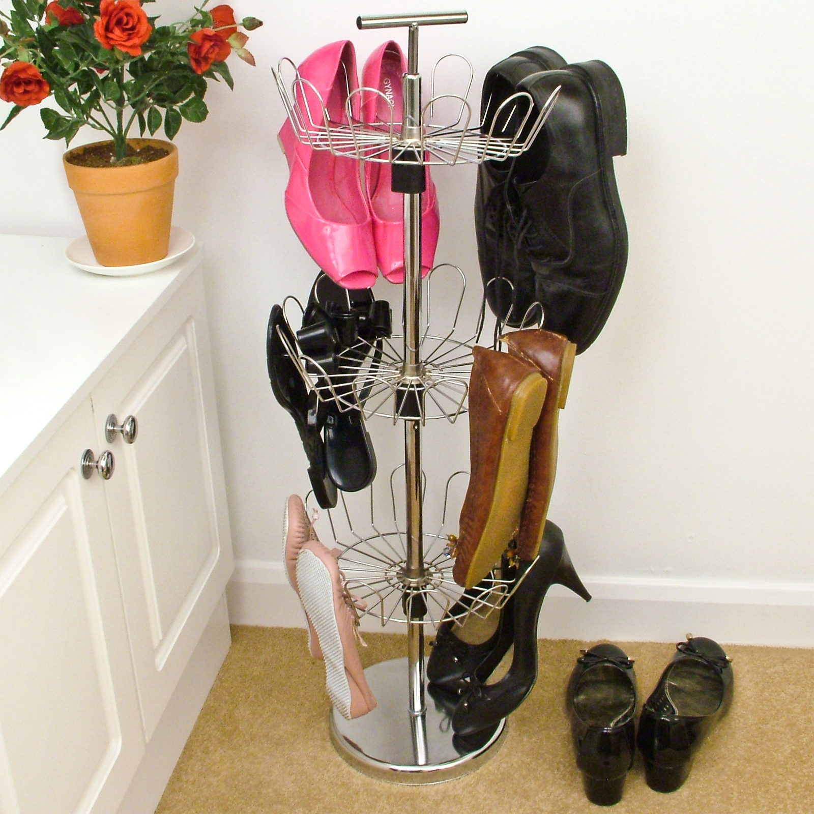 revolving rotating shoe tree stand storage rack 3 tier metal holds 18 pairs
