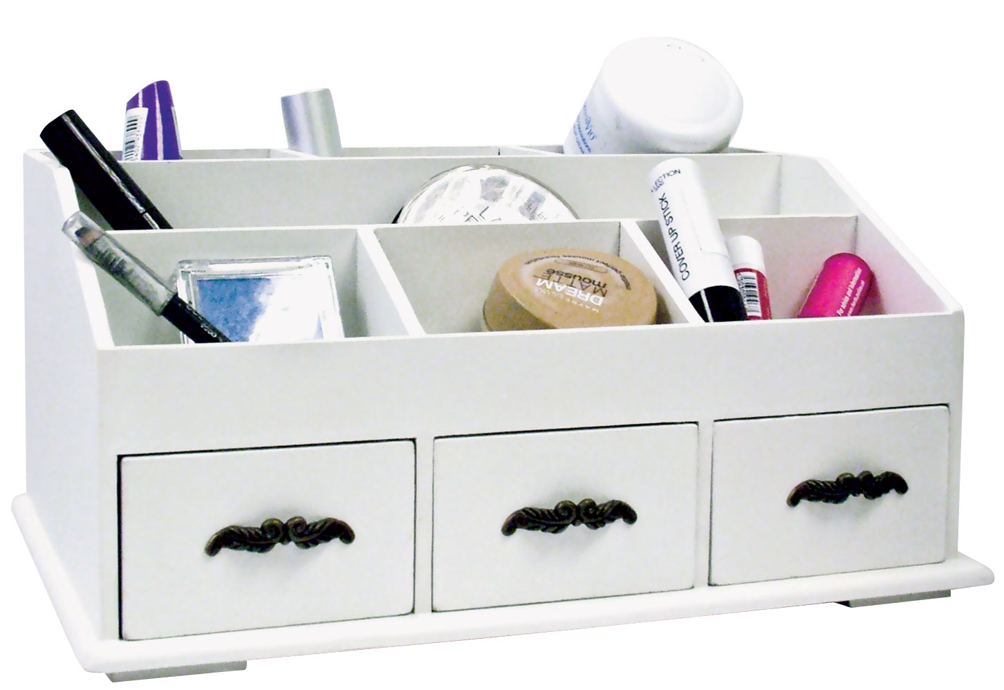 WOODEN DESK TIDY Cosmetics Organiser Caddy Pen Holder Tidy 3 Drawers . Full resolution  pic, nominally Width 1452 Height 998 pixels, pic with #A82365.