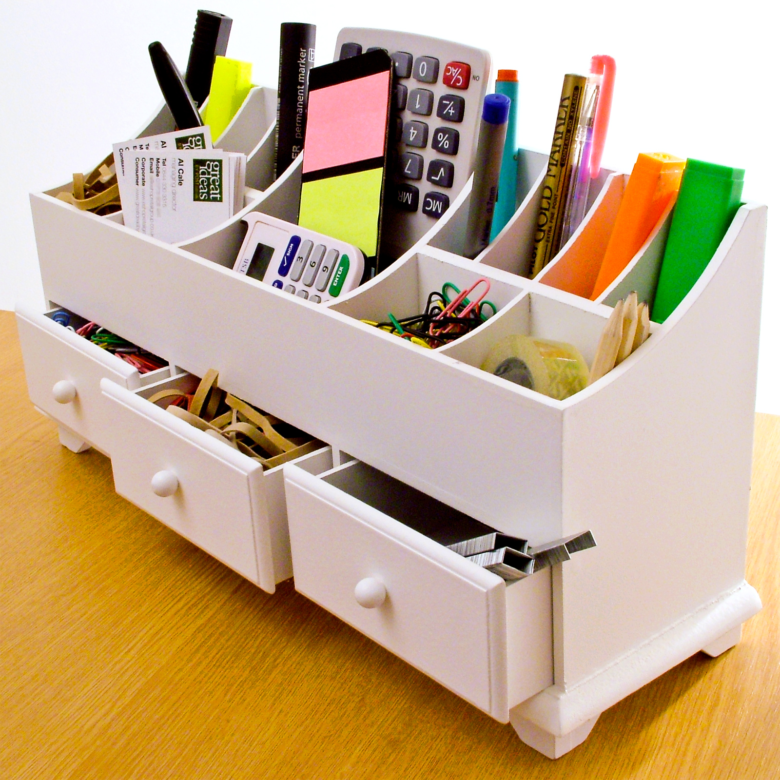 Details about Wooden Desk Tidy Organiser Caddy Pen Holder Tidy Make Up ...