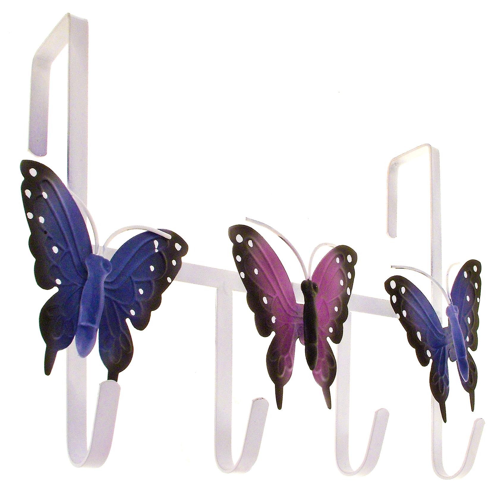 over door hanger 4 hook holder butterfly butterflies metal multi