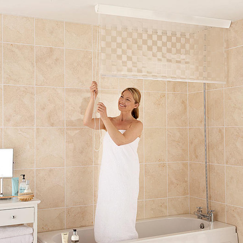Tenda a rullo per tende da doccia bagno impermeabile in plastica bianca ebay - Tenda per vasca da bagno ...