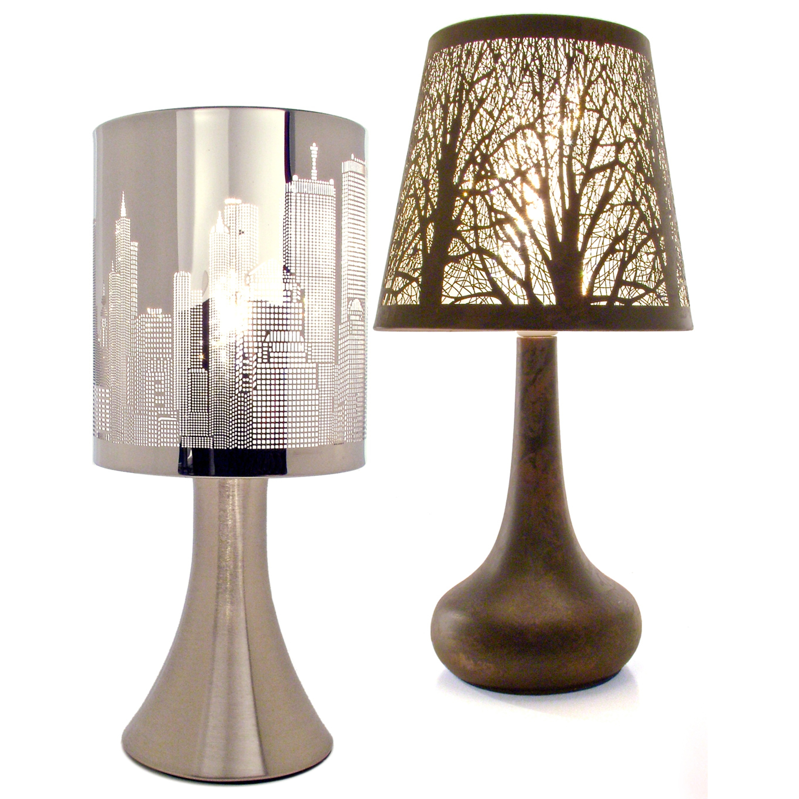 Chrome touch lamp dimmer bedside table light new york city skyline ebay - Bedside lamps with dimmer ...