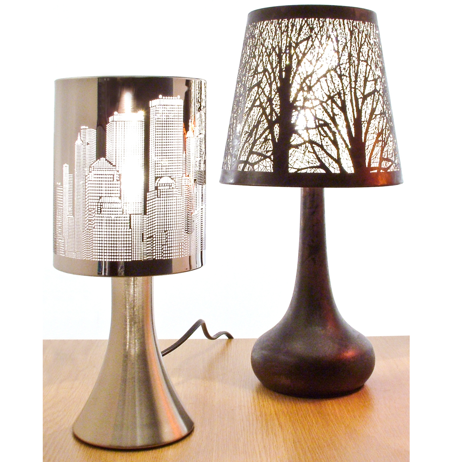 Chrome touch lamp dimmer bedside table light new york city skyline - Bedside lamps with dimmer ...