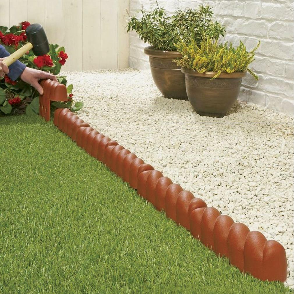 Garden border edging lawn plants grass terracotta - Plastic border for garden ...