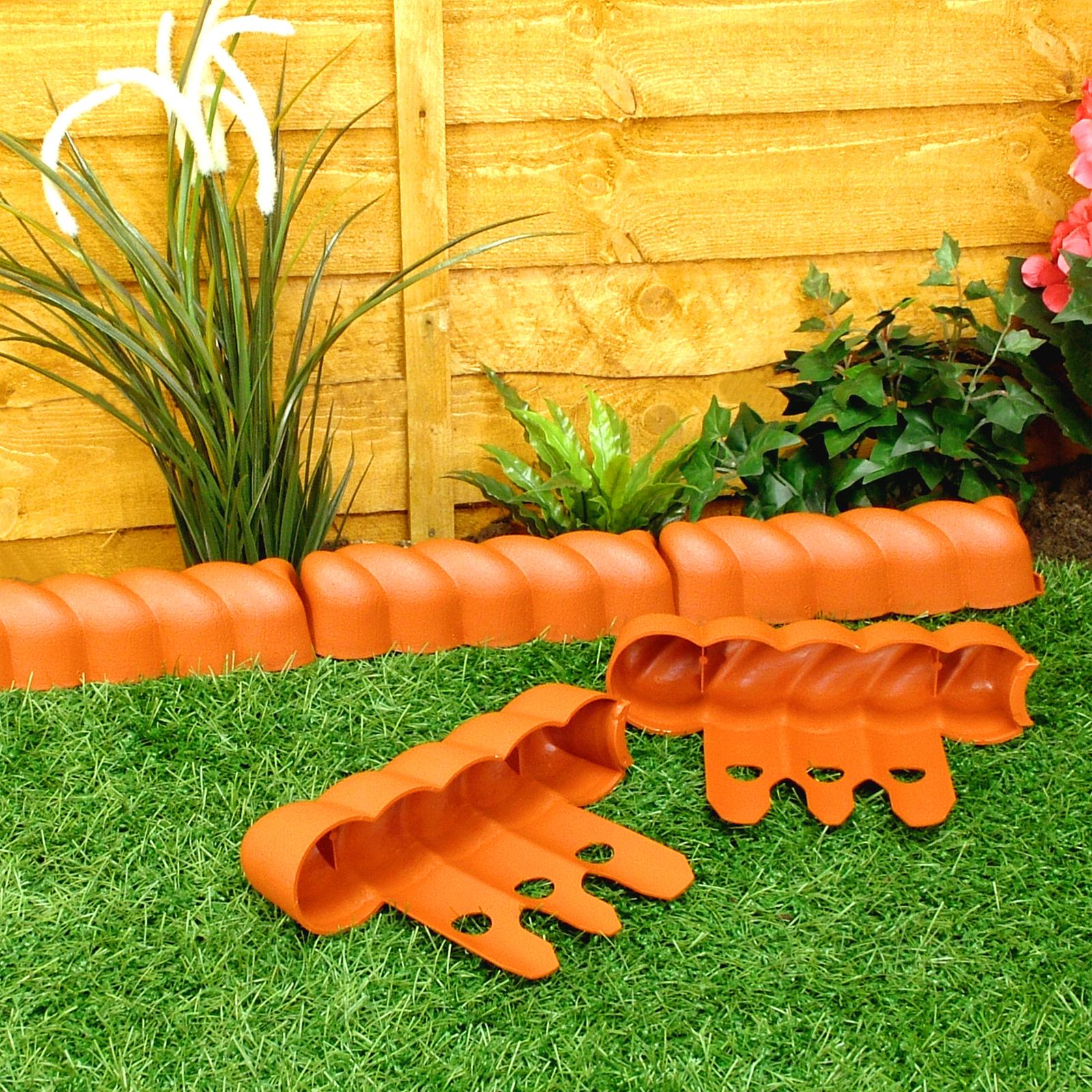 Garden border edging lawn grass terracotta victorian rope - Plastic border for garden ...
