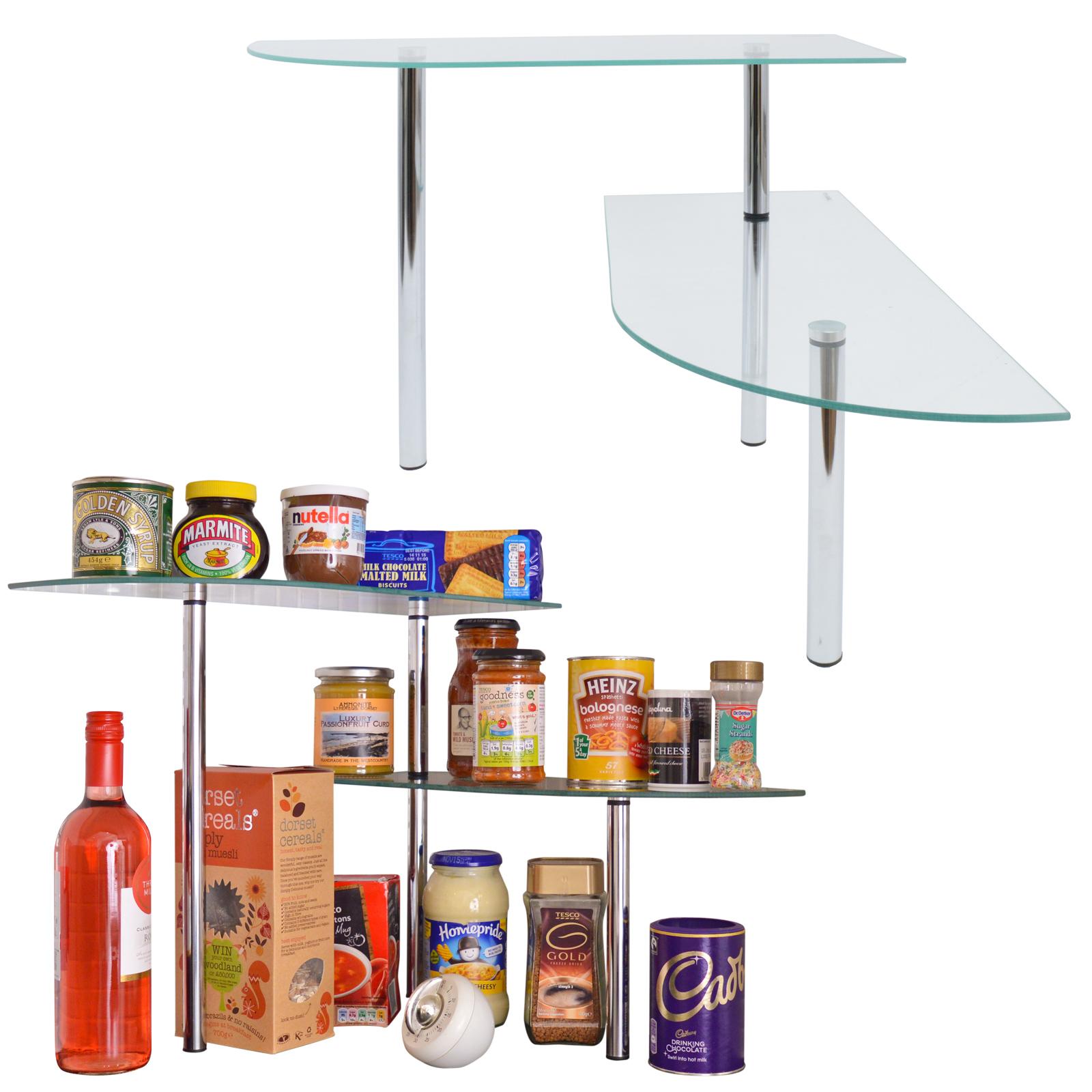 Glass Kitchen Shelf: Kitchen Glass Corner Shelves Free Standing Chrome Storage