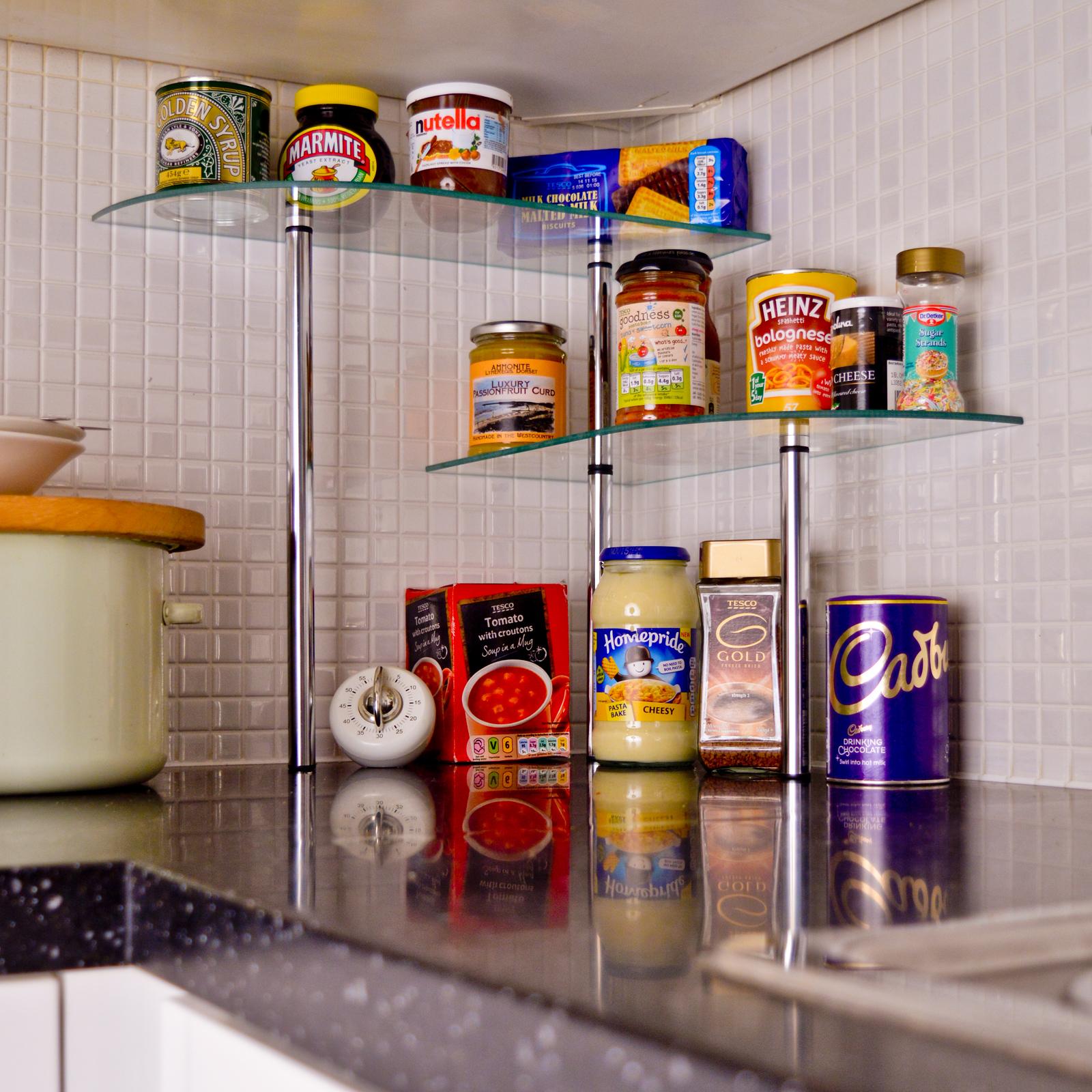 Glass Kitchen Shelves: Kitchen Glass Corner Shelves Free Standing Chrome Storage