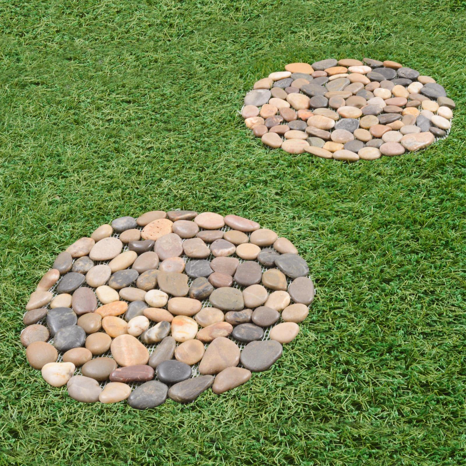 2 X Pebble Stepping Stones Round Circular Garden Rock