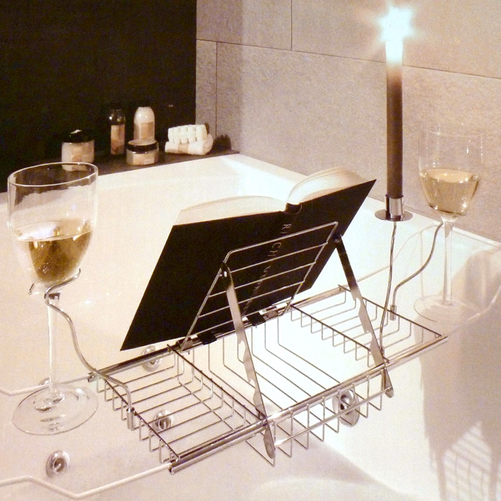 adjustable bath rack book stand bathtub shelf tray glass holder ebay