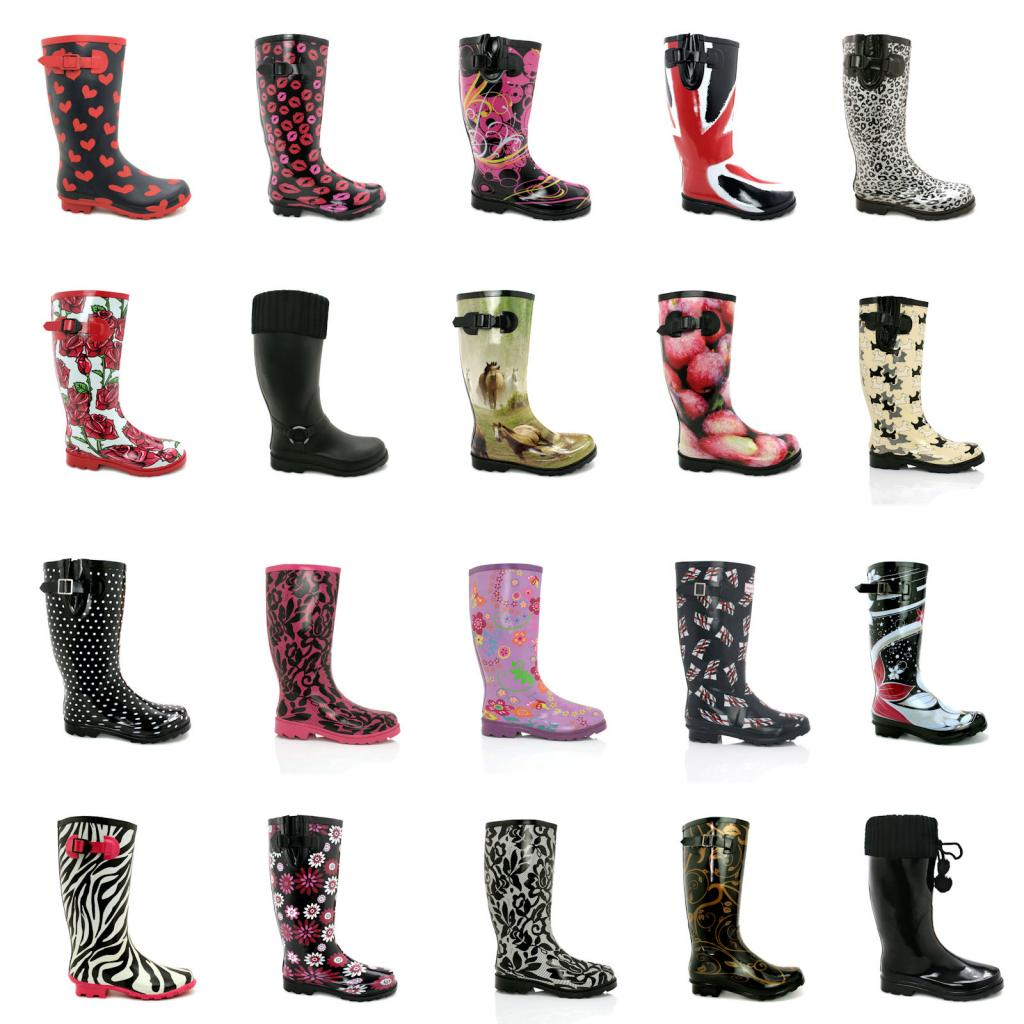 NEW WOMENS FLAT FESTIVAL WELLIES WELLINGTON KNEE HIGH RAIN BOOTS ...