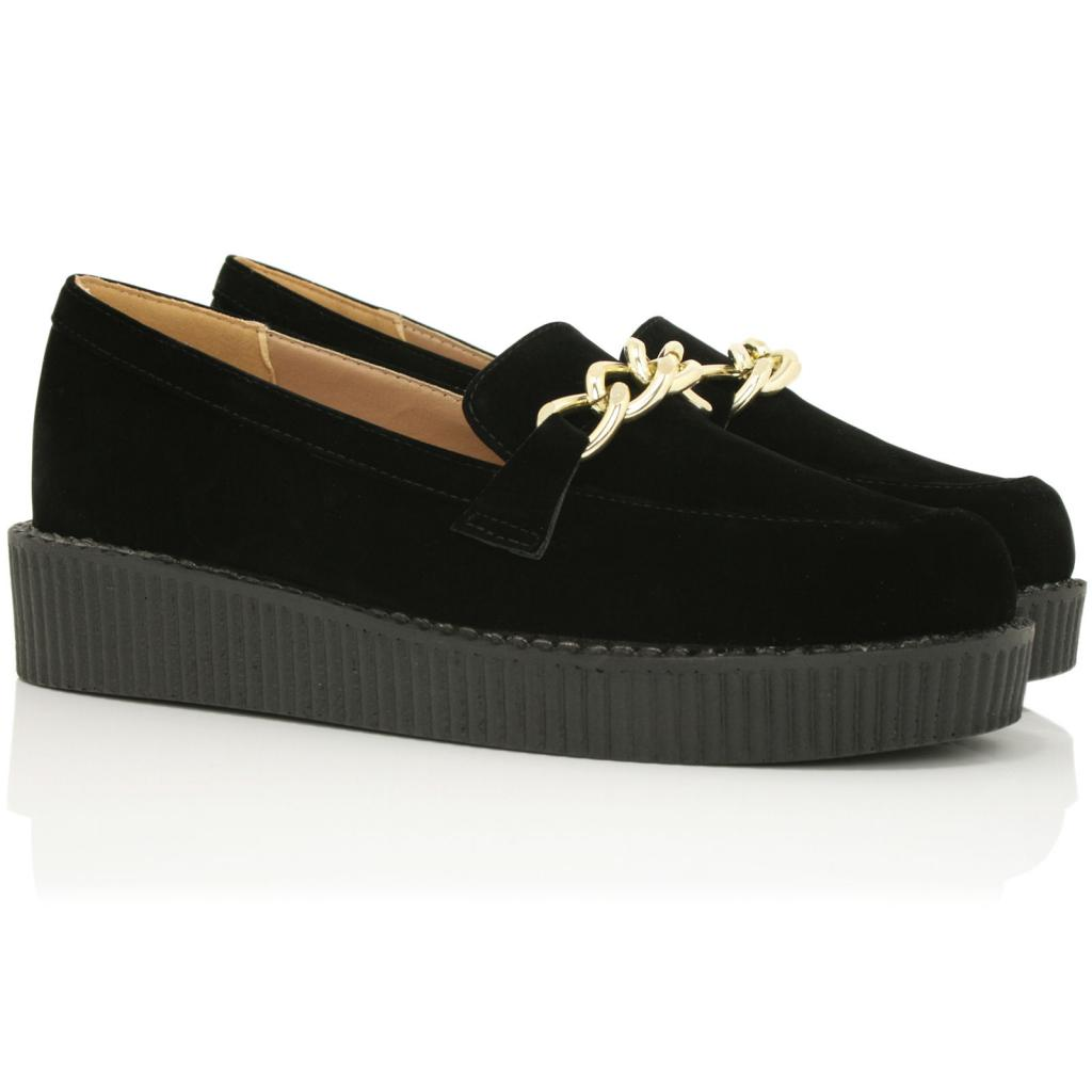 new womens flat chain loafer creeper platform shoes size