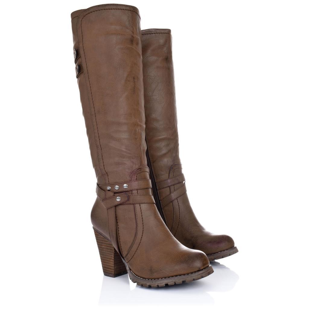 new womens block heel zip knee high biker boots size 3 8