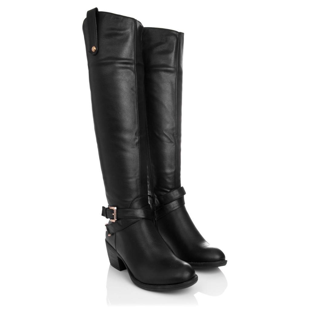 womens block heel spur buckle zip knee high