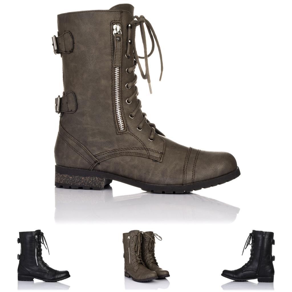 neu damen biker stiefeletten ankle boots schuhe flach. Black Bedroom Furniture Sets. Home Design Ideas