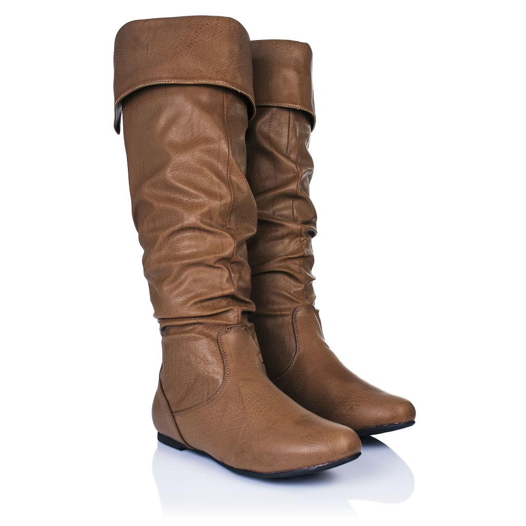 new womens flat cuff knee high slouch boots size ebay