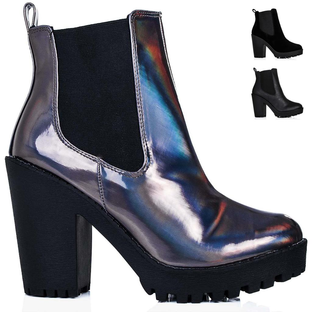 NEW WOMENS BLOCK HEEL PLATFORM CHELSEA ANKLE BOOTS SIZE 3 - 8