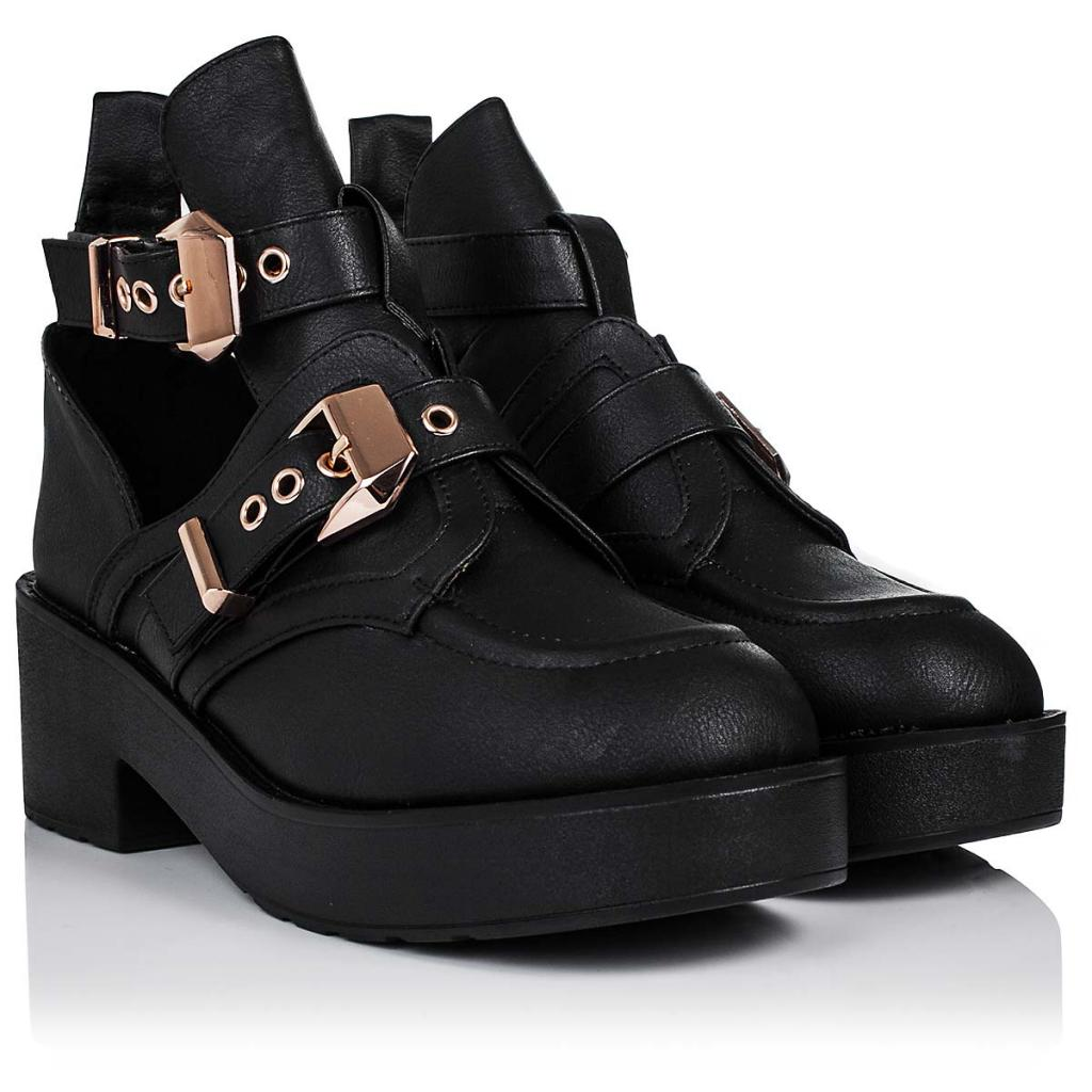 NEW WOMENS BLOCK HEEL BUCKLE CUT OUT PLATFORM BIKER ANKLE BOOTS ...