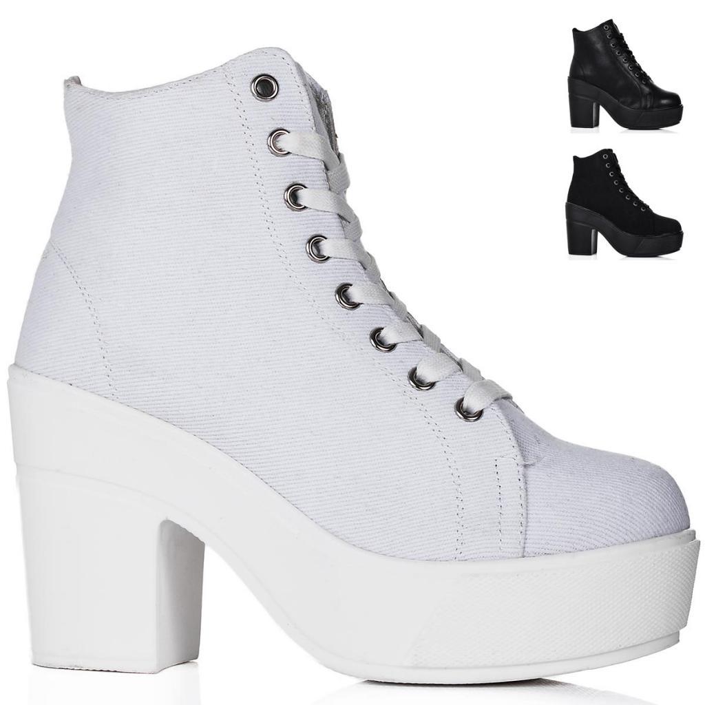 White Chunky Heel Pumps