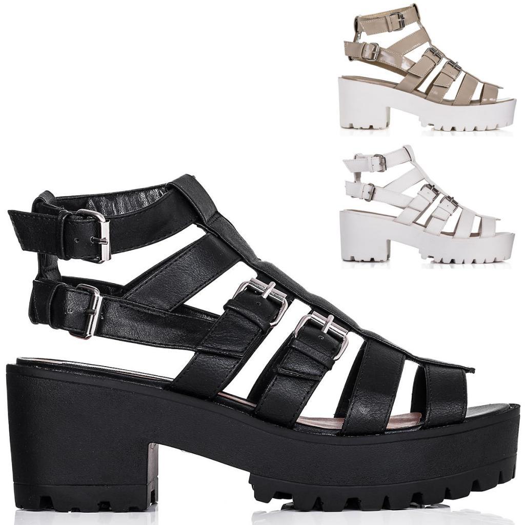 neu damen sandalen schuhe blockabsatz plateau schnallen. Black Bedroom Furniture Sets. Home Design Ideas