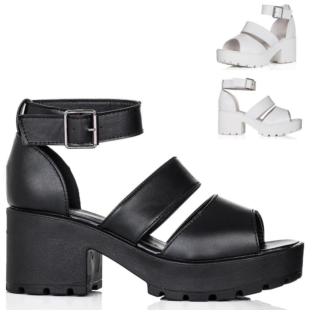 neu damen sandalen schuhe blockabsatz plateau schnallen gr 36 41 ebay. Black Bedroom Furniture Sets. Home Design Ideas