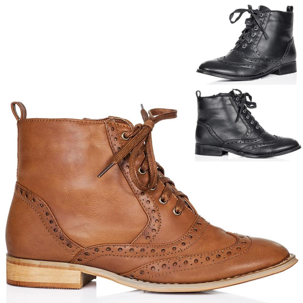 new s flat lace up brogue ankle boots shoes sz 3 8