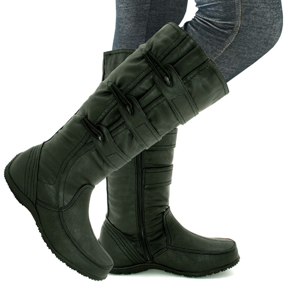 ladies leather style wide calf knee flat boots size 38 ebay