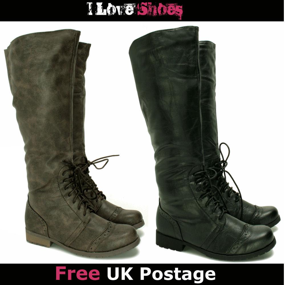 wide calf brogue knee high flat boots size 3 8 ebay
