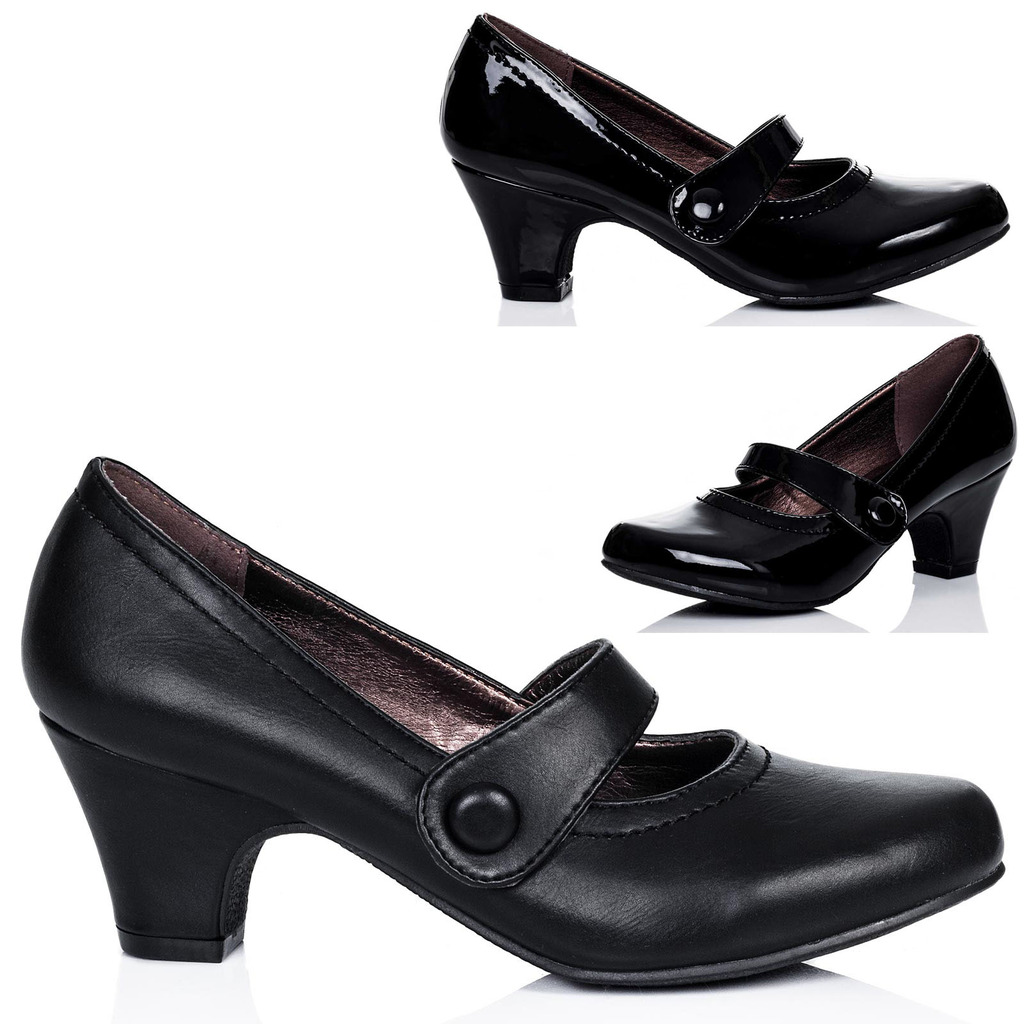 damen mary jane blockabsatz pumps schuhe pumps gr 36 41 ebay. Black Bedroom Furniture Sets. Home Design Ideas