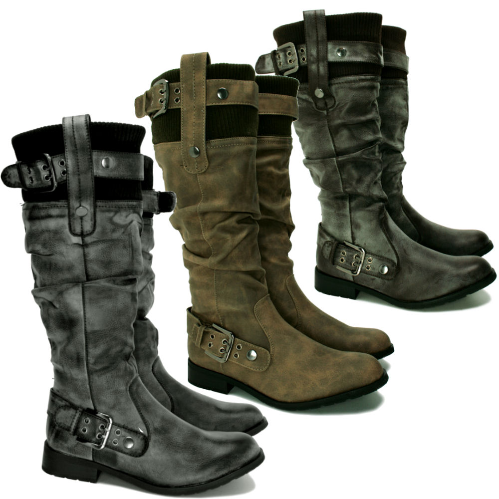 wide calf leather style biker flat knee boots ebay