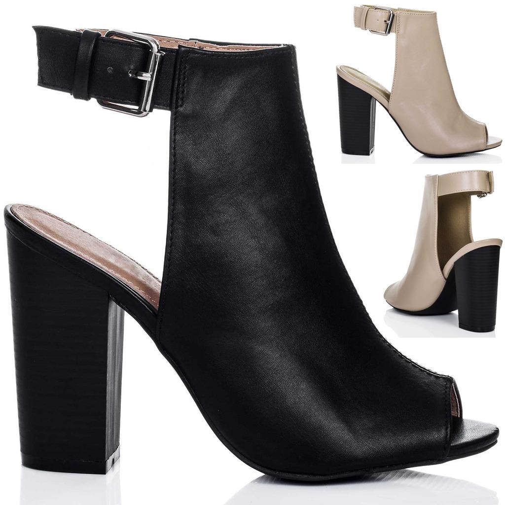 womens open peep toe block heel ankle boots shoes sz 3 8