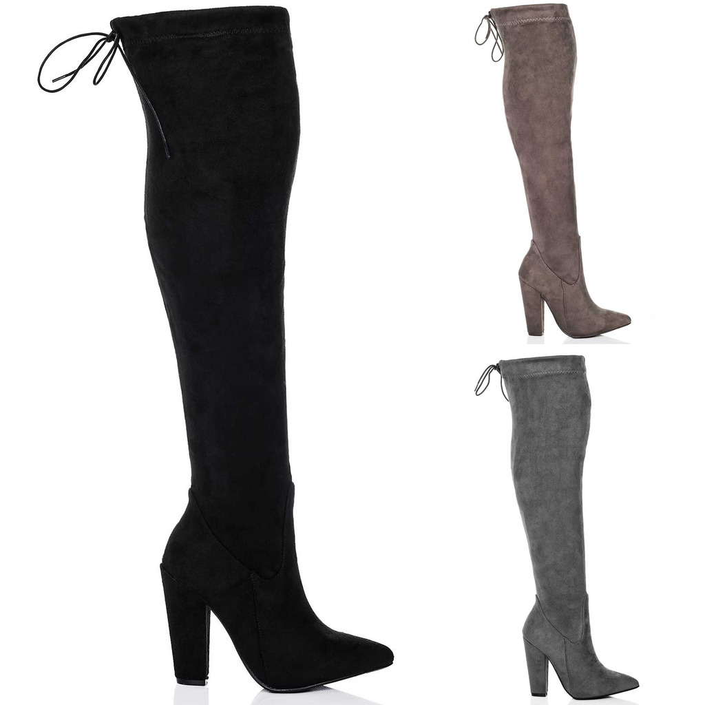 WOMENS LACE UP STRETCH BLOCK HEEL OVER KNEE TALL BOOTS SZ 3-8