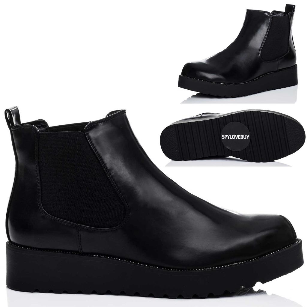 damen plateau flache chelsea boots stiefeletten gr 36 41. Black Bedroom Furniture Sets. Home Design Ideas