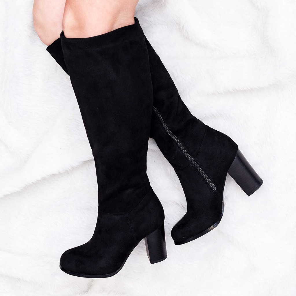 spylovebuy drey wide calf block heel knee high boots