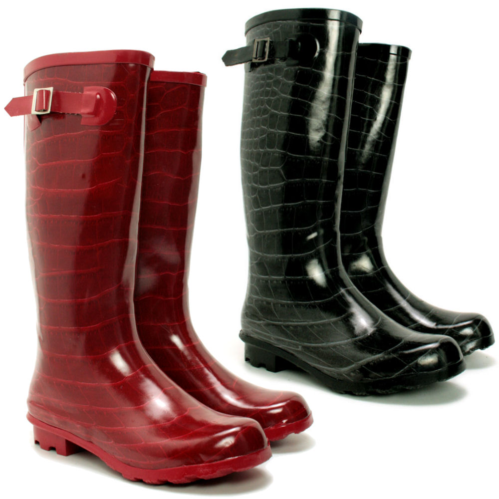 new womens festival croc snow buckle wellies wellington. Black Bedroom Furniture Sets. Home Design Ideas