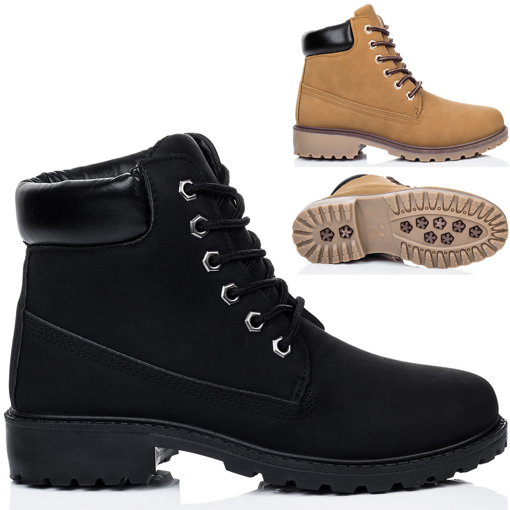 Womens Lace Up Cleated Sole Flat Combat Worker Walking Ankle Boots ...