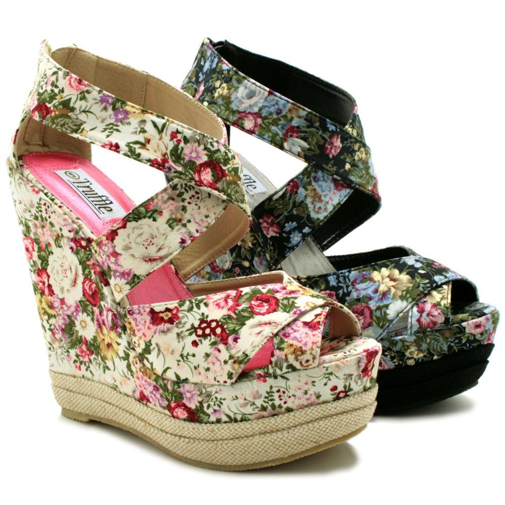 womens floral flower wedge platform shoes boots sz 3 8 ebay