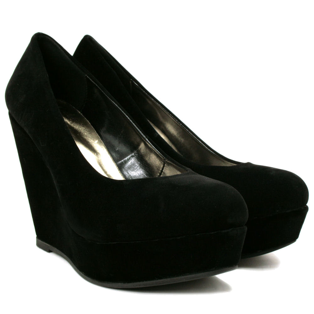 new womens wedge heel platform court shoes size ebay
