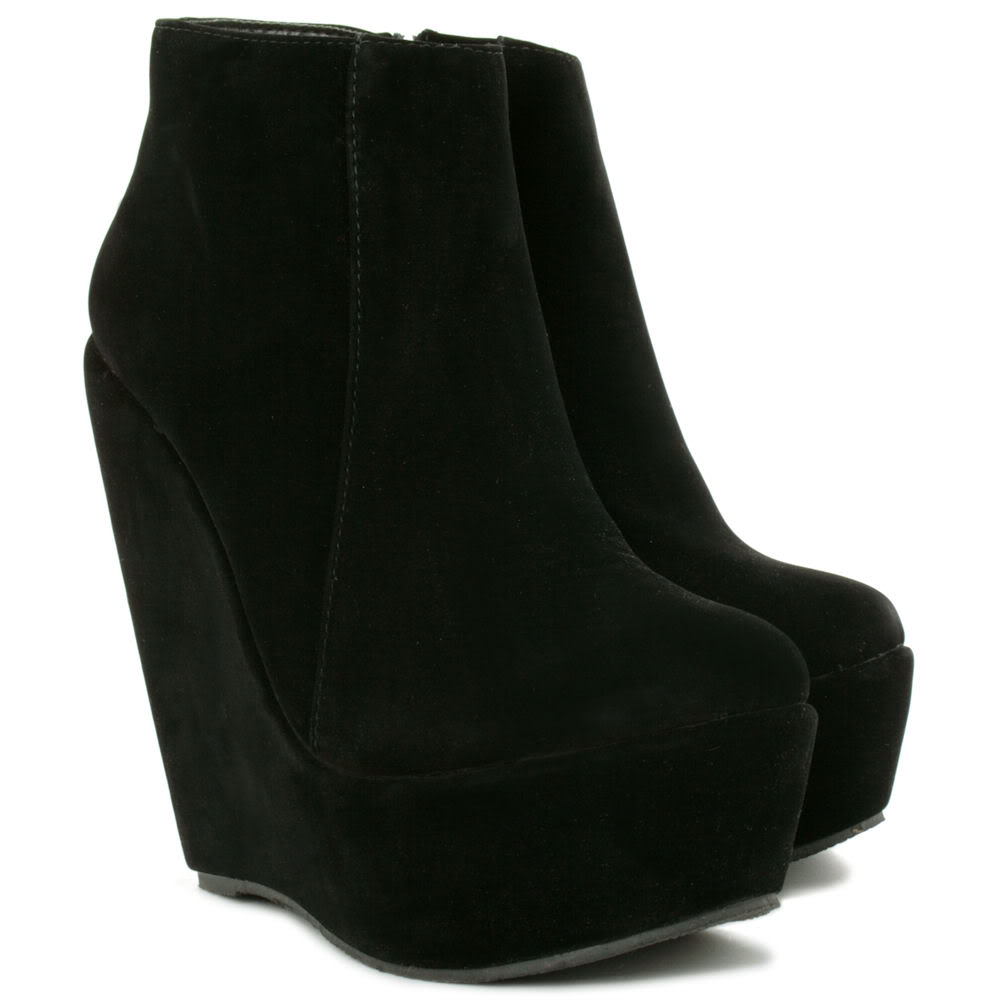 new suede style wedge heel platform shoes ankle boots ebay