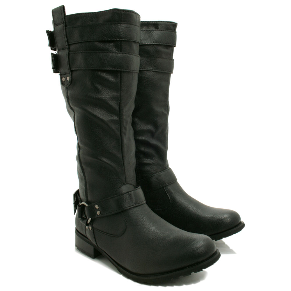 BLACK-KNEE-HIGH-LEATHER-STYLE-FLAT-BIKER-BUCKLE-BOOTS