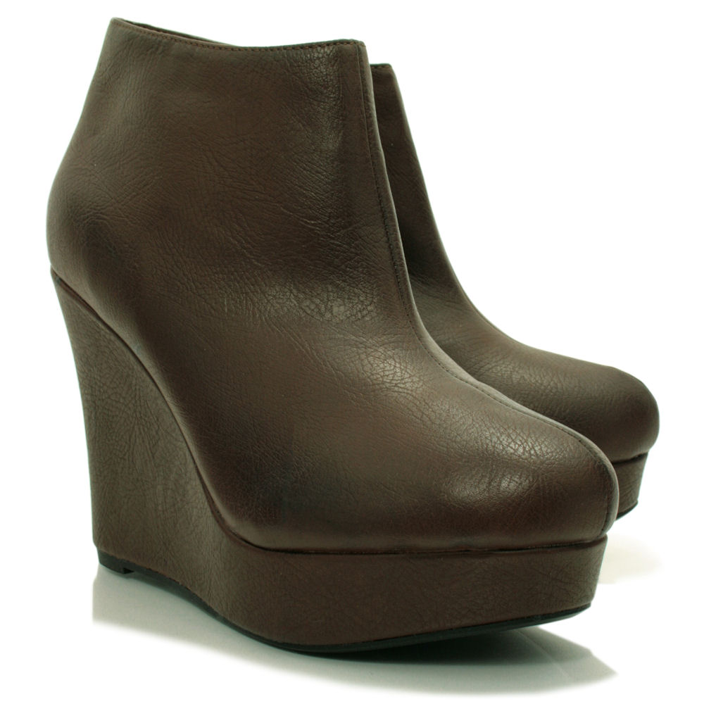 new leather style wedge heel platform shoes ankle boots ebay