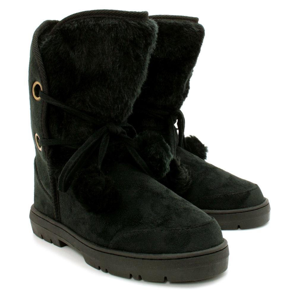 waterproof sole pom fur winter snow ankle flat boots ebay