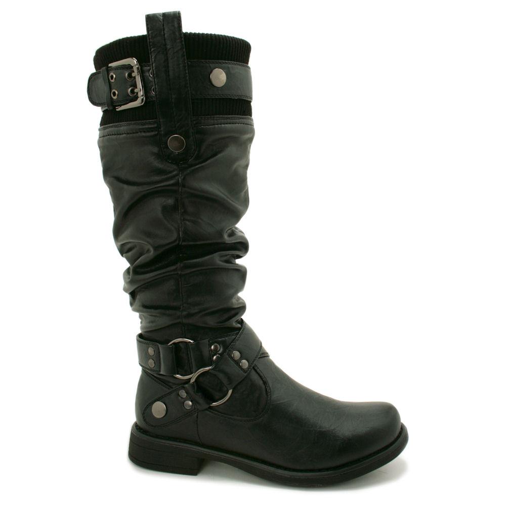 new womens biker buckle wide calf flat knee high boots ebay
