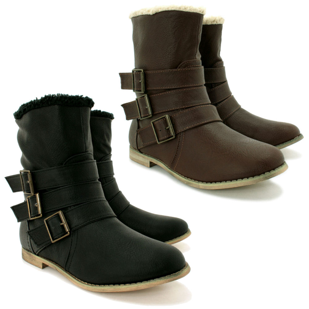 new leather style flat ankle biker shoes boots